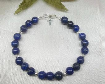 Blue Lapis Bracelet Cross Bracelet Lapis Lazuli Bracelet Adjustable Bracelet 925 Sterling Silver Bracelet BuyAny3+Get1 Free