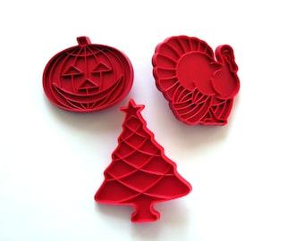 Cookie Cutters, Red Plastic Cookie Cutters, Holiday Baking, Christmas Tree, Turkey Biscuit, Pumpkin Tupperware, Vintage Baking