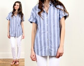 blue striped shirt blouse // pale pastel denim chambray white stripes // summer spring // cotton // medium