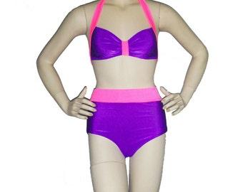 High waisted bathing suit, Purple and Pink  retro inspired bikini, pinup bikini