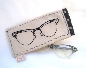 Hand embroidered vintage cat eye glasses sunglasses case pouch