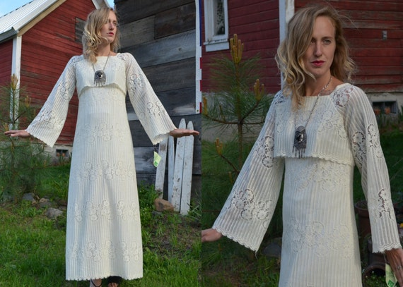 RESERVED 70s Miss K Hawaii Ivory Lace Bohemian Pioneer Maxi Dress