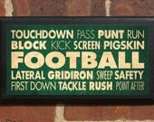Football Vintage Style Wall Plaque/Sign - Custom Color