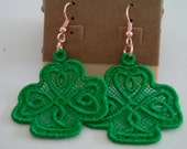 SALE Green Lace Celtic Shamrock Charm Earrings