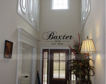 "Personalized Family Last Name Vinyl Wall Decal with Date Established Entry Way Foyer Living Room 15""H x 34"" W"