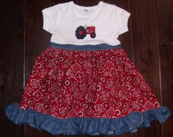 Boutique Tractor Bandana Farm Themed Birthday Ruffle Tee Dress Sizes Newborn to 8 Youth