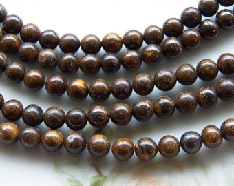 6mm Bronzite Polished Round Gemstone Beads, Half Strand (IND1C365)