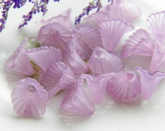 12mm Lavender Ruffled Calla Lily Frosted Acrylic Flower Beads, 12 PC (INDOC8)