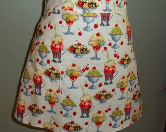 Cheery Cherries Half Apron with Scalloped Bottom in Darling Michael Miller Cherry Sundaes Fabric
