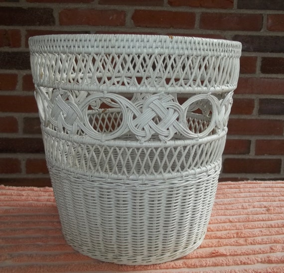 Vintage White Wicker Wastebasket Waste Basket by Route66StLouis