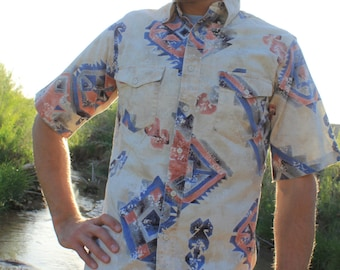 Southwest 90s - Abstract Native Navajo Vintage Cowboy Shirt, Wrangler, Medium