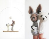 FINGER PUPPET MOBILE / Wall Hanging, Kangaroo & Panda Multicultural Family, Mother, Father and Baby, felted wool toy and child's room decor
