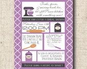 Printable Bridal Shower Invitation, Recipe Card, Tags, Toppers -Mod Kitchen Quarterfoil Design-