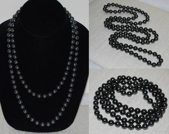 8 mm Long Knotted Crystal Pearl Necklace, Hand Knotted Swarovski Crystal Pearl Necklace, 108 Glass Pearl Necklace