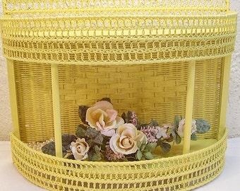 Yellow Vintage Shabby Wicker Shelf Storage Ann Clark