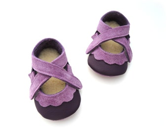 Handmade leather shoes for babies, toddlers and children.  Purple and mauve leather soft soled baby shoes.