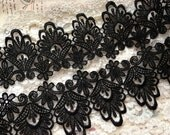 Black Lace Trim ,Vintage Rococo Lace, Crochet Lace, Black Venice Lace Trim