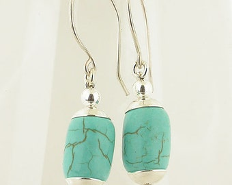 Turquoise Round Hook Sterling Silver Earrings
