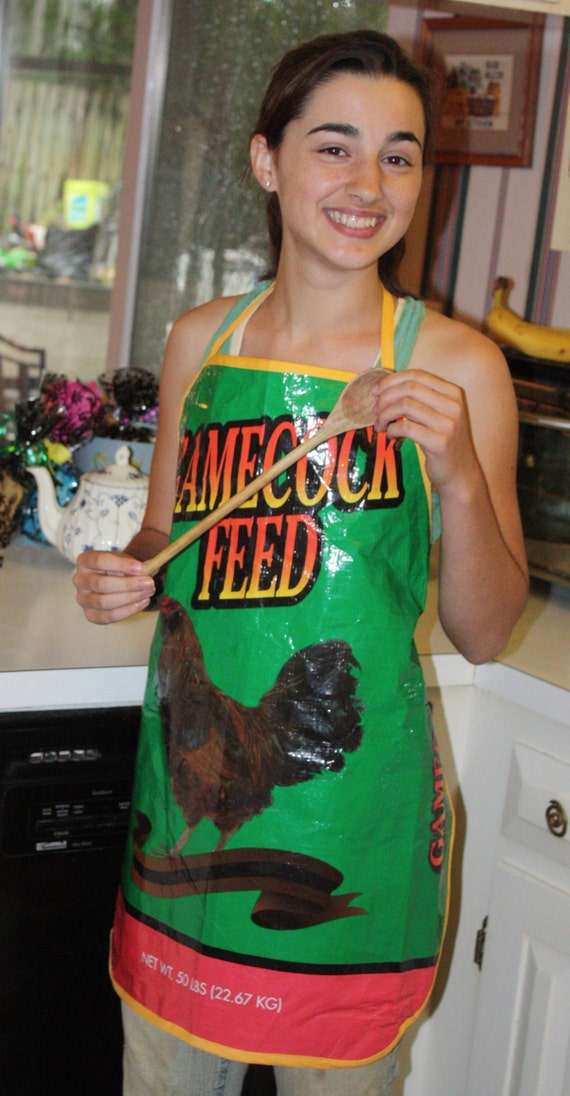 Apron made from recycled feed bag