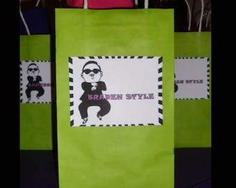Gangnam Style Printable DIY Favor/Goody/Treat Bag Tags, Birthday Party  - Psy, Green, Purple, Black, White