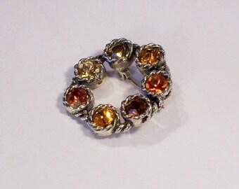 Vintage Amber Rhinestone Sparkling Brooch, Silver tone brooch, Round Brooch, UK Seller