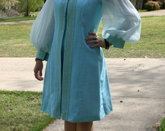 Alfred Werber 60's Vintage Dress with Matching Vest -  Aqua Blue - So Cool and Classy - 6/8