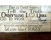 Love like Crazy- song lyrics painted on barn wood. Anniversary gift, wedding gift,
