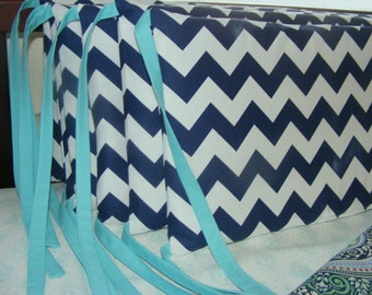 Custom Crib Bumpers Six Piece Chevron Navy or other Chevron Fabric Ties