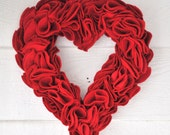 Valentine Heart Wreath Ruffled Felt Red Sweetheart Romantic Door Hanging