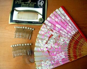 Vintage hair combs pearl hair combs