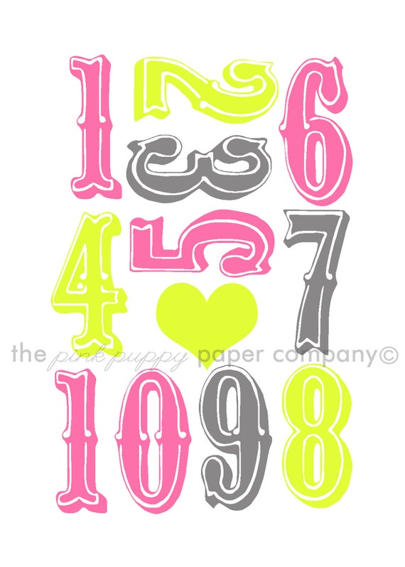 Bright Numbers 5x7 Print (you choose colors)