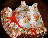Parley Ray Classic Strawberry Shortcake Pets Birthday Pinafore Dress with Ruffled Baby Bloomers / Diaper Cover