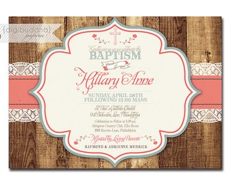 Rustic Baptism Invitation Lace Wood Christening Invite Baby Girl Typography Christian Cross DIY Digital or Printed - Hillary Collection