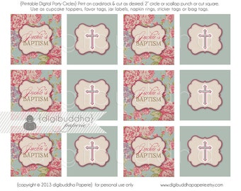 """Baptism Party Circles Cupcake Toppers 2.25"""" PRINTABLE Chic Vintage Rose Christening Cross Personalized Circles - Jackie Style"""