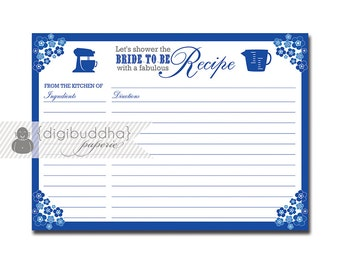 Floral Recipe Card Cobalt Blue Flowers Bridal Shower 5x7 4x6 3.5x5 DIY Printable or Printed Fill-In Recipe Card - Priscilla Style