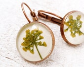 RESERVED for Geninne- Pressed Flower Earrings - antique bronze - handmade pressed flower jewelry