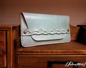 Braid Strap Misty Green Leather Phone Case with a Flap