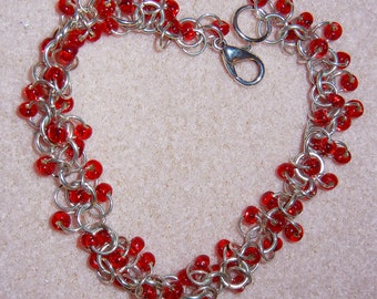 Chainmaille Bracelet: Shaggy Loops with Beads