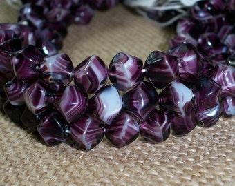 Purple Czech Glass Bead 8mm White Amethyst WILD ORCHID (15)