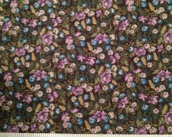 Ozark Calicos -Turquoise Lilac Floral on Dark Green 100% Cotton Fabric Fat Quarter