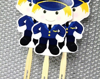 Airline Pilot Cupcake Toppers