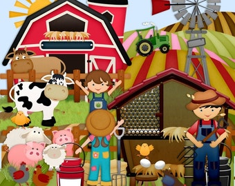 Animal Scrapbook, Farm scrapbook, Outdoors, Sheep, Pig, Cow, Barn, Tractor,Children, Farmer Scrapbook, Instant download