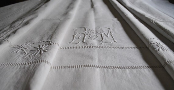 Antique French Linen, Antique linen bedding, Country French Decor, R M Monogram, Embroidered linen sheet,  Vintage linen bedding