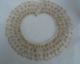 White and Gold Beaded Collar