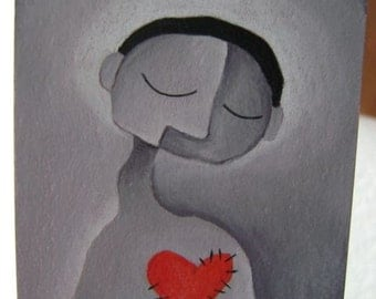 Man And Heart - Original Drawing - ACEO