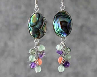 Abalone shell jade carnelian dangling chandelier earring Bridesmaid gifts Free US Shipping handmade Anni designs