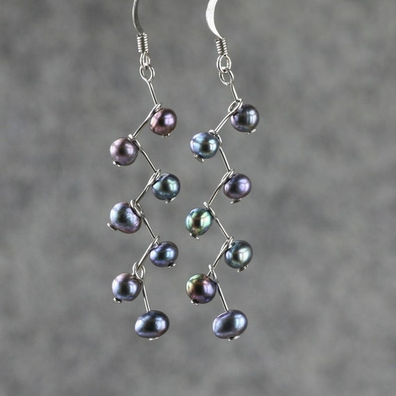 Black pearl zigzag dangle earrings Bridesmaids gifts Free US Shipping handmade Anni Designs