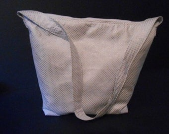 Handmade White with tiny silver stars Print,   over the shoulder purse,