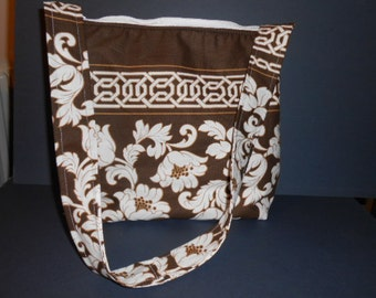 """Handmade Tribal, Flowers  Print Purse,  over the shoulder purse, 9"""" by 11"""""""