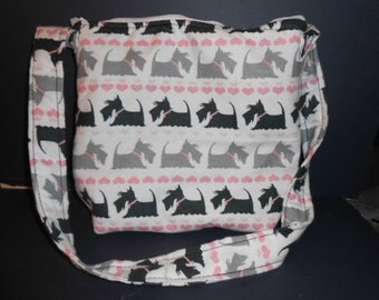 """Handmade Scottie Dogs  Print Purse,  over the shoulder purse, 9"""" by 11"""""""